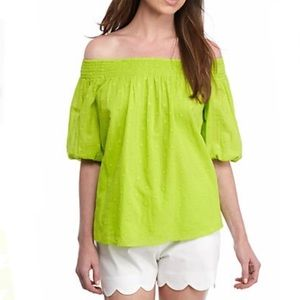 Crown & Ivy Lime Green Off The Shoulder Top - XS
